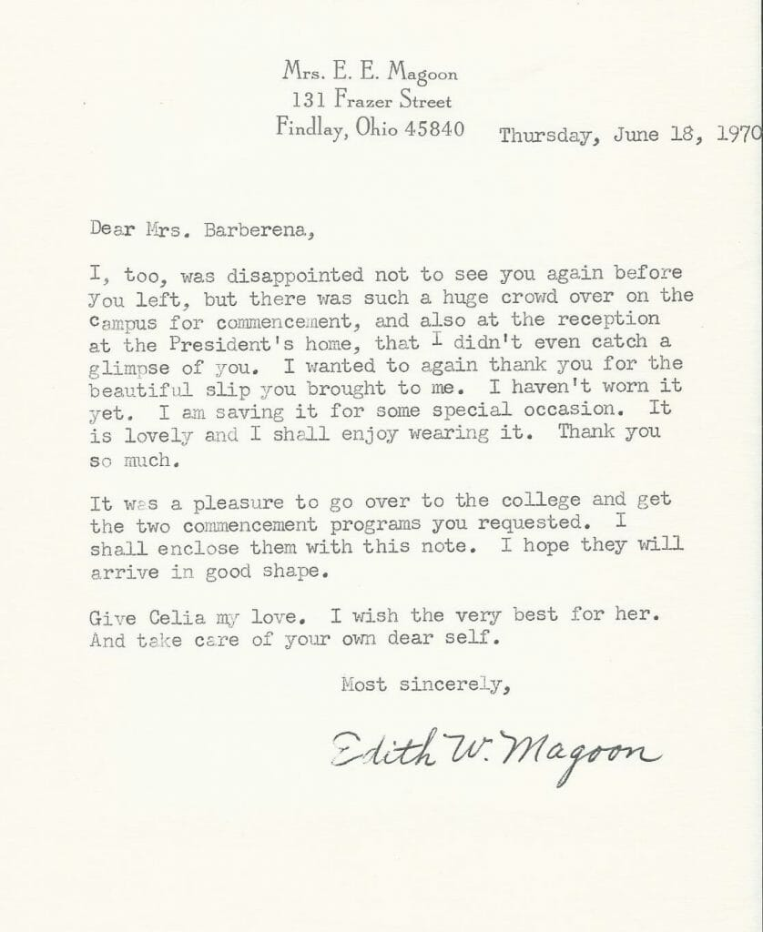 Letter to Mother from Mrs Magoon
